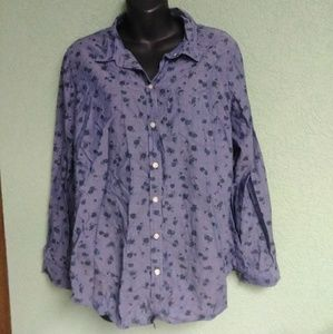 Old Navy Light Blue Floral Button Down